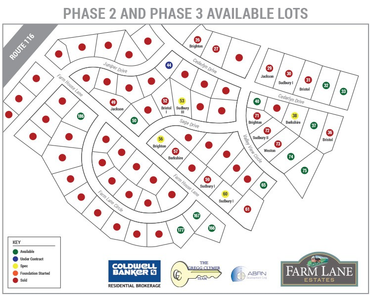 Farm Lane Community Lot Map Updated 11-4-19